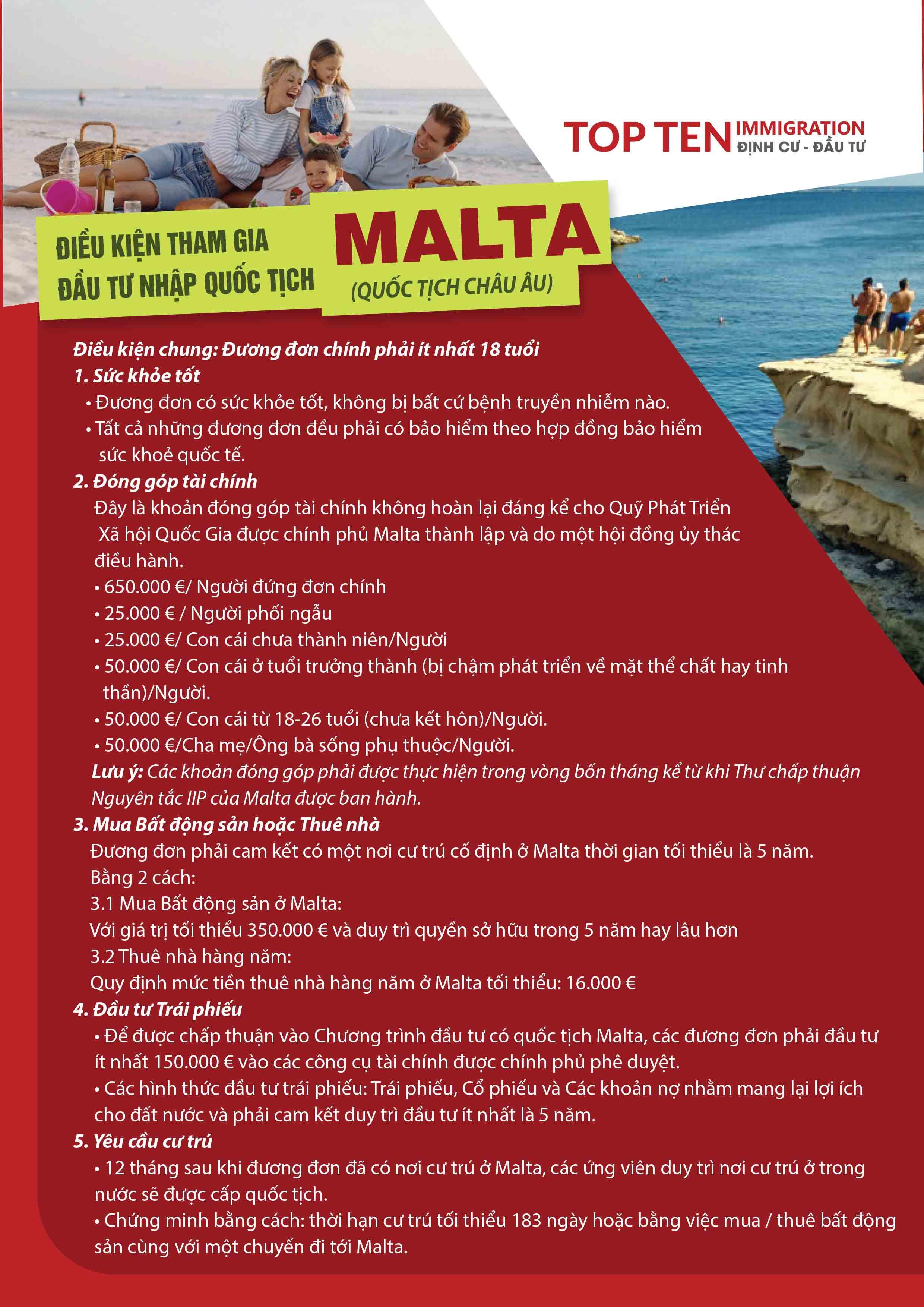 Đầu tư quốc tịch Malta