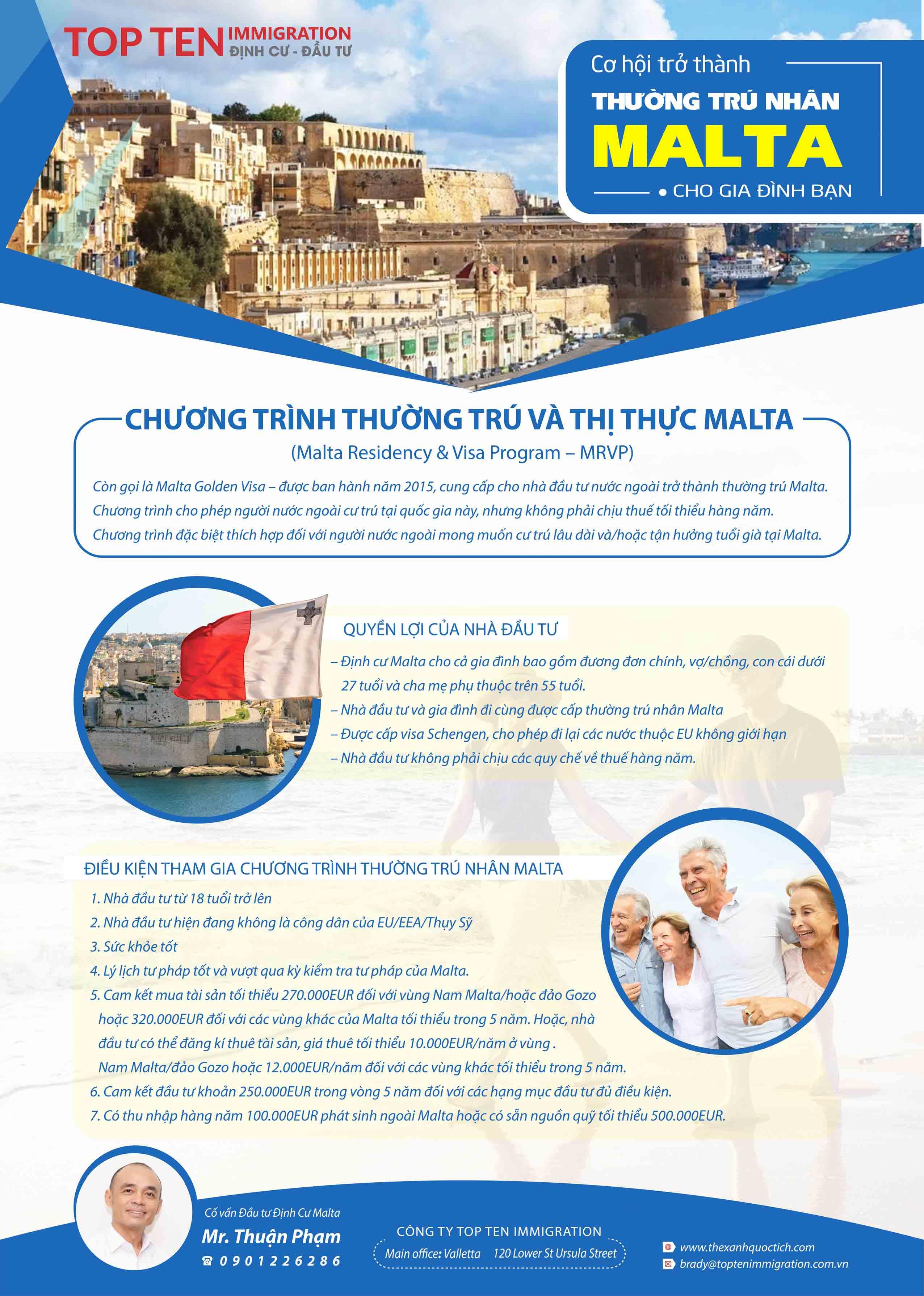 Chương trình đầu tư định cư thường trú nhân Malta